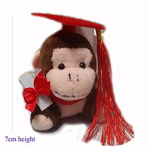 ZhinderLand Wholesale 7cm Graduation Mini Monkeys With Diplomas Stuffed Monkeys, Package of 10 Monkeys (10 pcs)