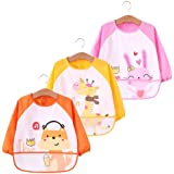 KOBWA Baby Bibs with Sleeves, 3Pcs Waterproof Kids Art Smocks Long Sleeved Bibs with Pocket, Children Painting Aprons for 6 Months Infants to 3 Years Old Toddlers