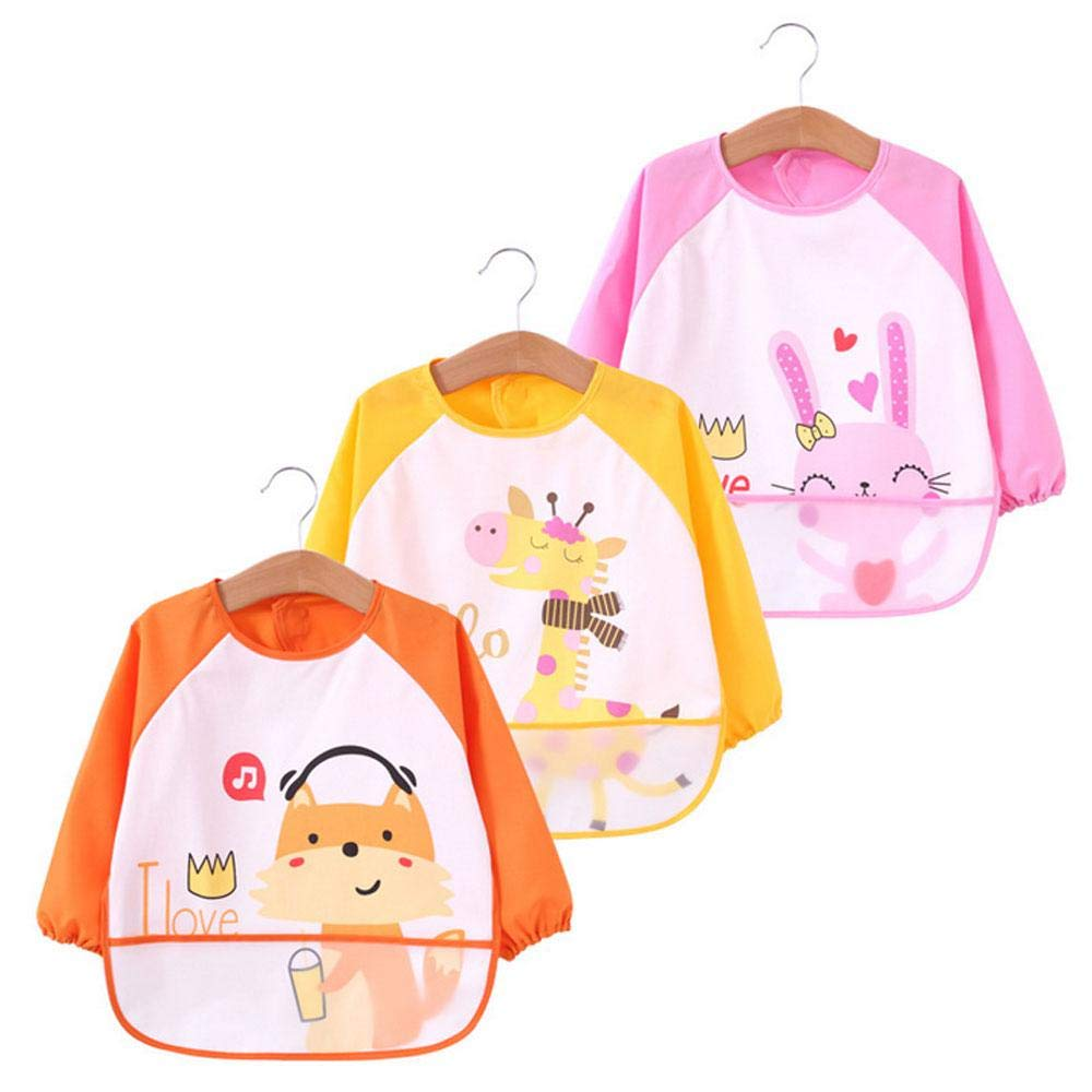 Pawaca Baby Bibs with Sleeves, 3Pcs Waterproof Kids Art Smocks Long Sleeved Bibs with Pocket, Children Painting Aprons for 6 Months Infants to 3 Years Old Toddlers