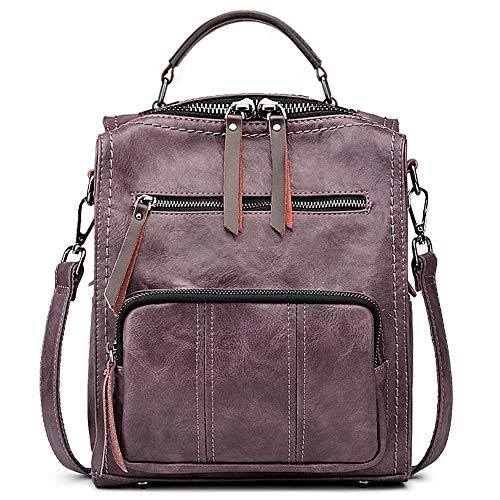 PU Leather Shoulder Bag,Decors On Tree Backpack,Portable Travel School Rucksack,Satchel with Top Handle