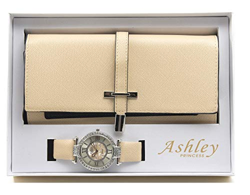 - Women's Essentials - Matching Watch & Colorful 2 Layer Design Wallet Gift Set - ST10234 Nude