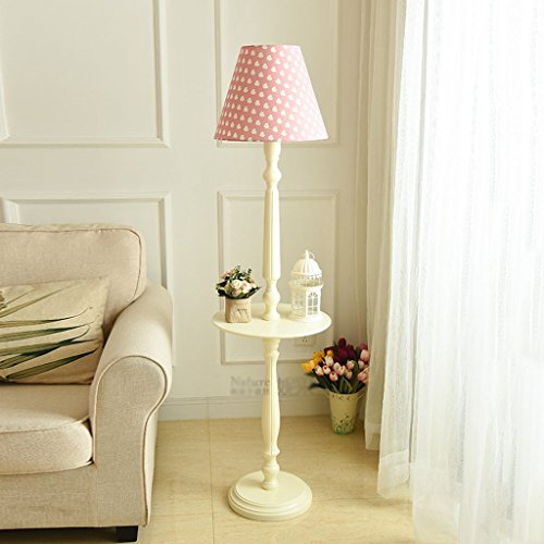 Floor Lamp Solid Wood Coffee Table Continental American Modern Minimalist Vintage Ivory White Desk Lamp with Tray Storage Vertical Lamp (Color : Pink)