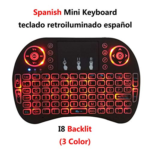 Ochoos Backlit i8 Mini Wireless Keyboard 2.4G English Russian French Spanish Air Mouse with Touchpad Remote Control for Android TV Box - (Color: English no ...