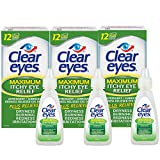 Clear Eyes Maximum Itchy Eye Relief Drops, 3 Count, 0.5 oz - Pack of 3