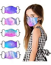 5 Pcs Kids Face Cover Cute Printed Reusable Cotton Cloth Face_Masks, Adjustable Ear Loop Design, Back to School Supplies