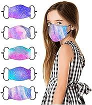 5 Pcs Kids Face Cover Cute Printed Reusable Cotton Cloth Face_Masks, Adjustable Ear Loop Design, Back to Schoo