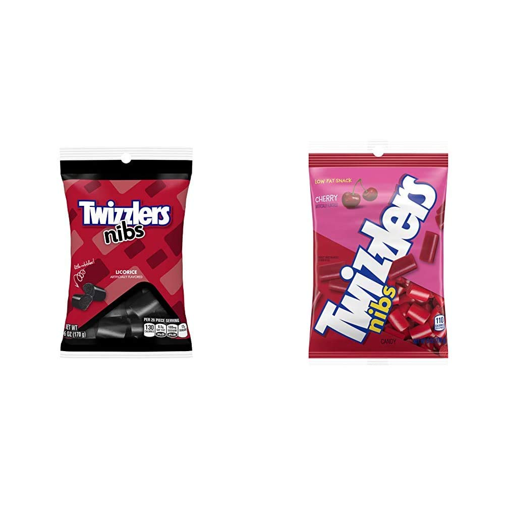 TWIZZLERS Licorice Candy, Black Licorice Nibs, 6 Ounce (Pack of 12) & NIBS Cherry Licorice Candy