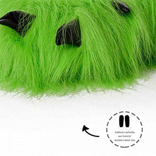 Funslippers, Pantoufles En Peluche Animal Figurine Femme Homme Adulte Et Bamibini Prime Ours Griffe - Vert - Idée Cadeau