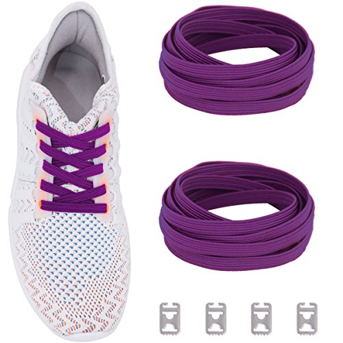 Ceratown No Tie Shoelaces with Elastic Band and Stainless Steel Tabs, No Knot Tieless Stretch Replacement Shoelaces for All Kid and Adult Shoes Color: Purple