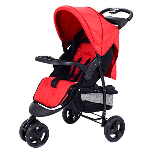 Costzon Infant Stroller 3 Wheel Baby Toddler Pushchair Travel Jogger w/Storage Basket (Red) by Costzon