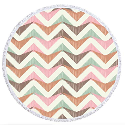 Thick Round Beach Towel Blanket, 100% Microfiber Terry Large Beach Roundie Circle Picnic Carpet with Tassel for Girls/Women 59