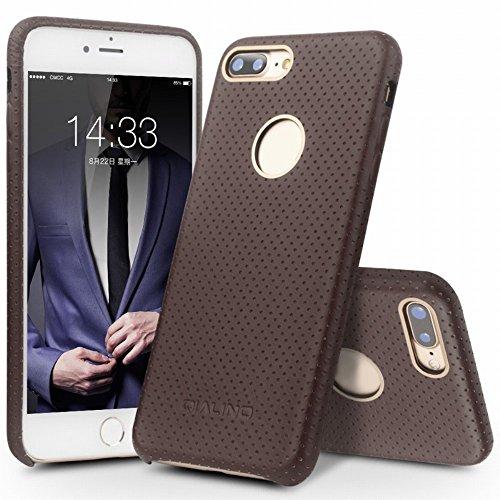 QIALINO Mesh Holes Genuine Leather Coated PC Back Tasche Hüllen Schutzhülle - Case für iPhone 7 Plus 5.5 - Coffee