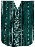 LA LEELA Cotton Batik Long Caftan Dress Women Sea Green_205 OSFM 14-18W [L-2X]