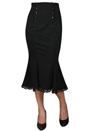 063ae72c44 Chic Star Women's Modern Grease Double Button High Waist Fishtail Skirt  Small Black
