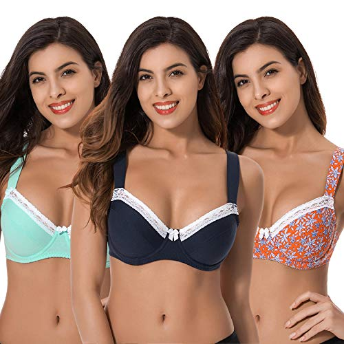 - Curve Muse Women's Plus Size Underwired Unlined Balconette Cotton Bra With-3Pack-NAVY,LT Green,Orange PRINT-38DD
