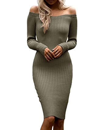 1e3cf39d5772a Womens Off Shoulder Long Sleeve Ribbed Knit Bodycon Midi Sweater Dresses