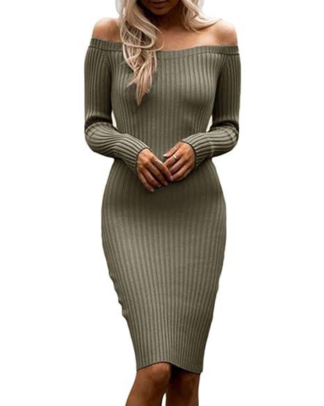 b5b7b18cec4 Dellytop Womens Off The Shoulder Sweater Dresses Long Sleeve Ribbed Bodycon  Midi Dress