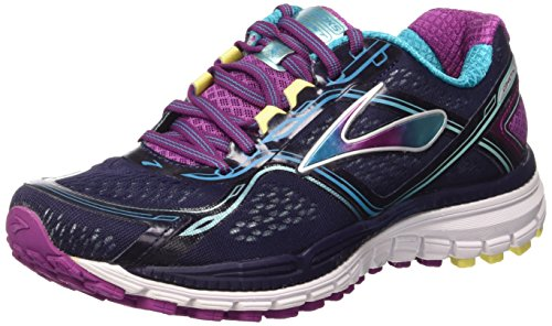 Brooks Womens Ghost 8 Peacoat/Hollyhock/Capri Breeze Sneaker 9.5 B (M) by Brooks