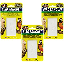 Zoo Med Bird Banquet Mineral Block, 3 Pack of 5 Ounces each, Seed Formula