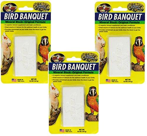 Zoo Med Bird Banquet Mineral Block, 3 Pack of 5 Ounces each, Seed Formula (Zoo Med Bird)