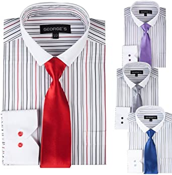 4 Colors Georges Multiple Stripe Design Slim Fit Dress Shirt with Slim Tie
