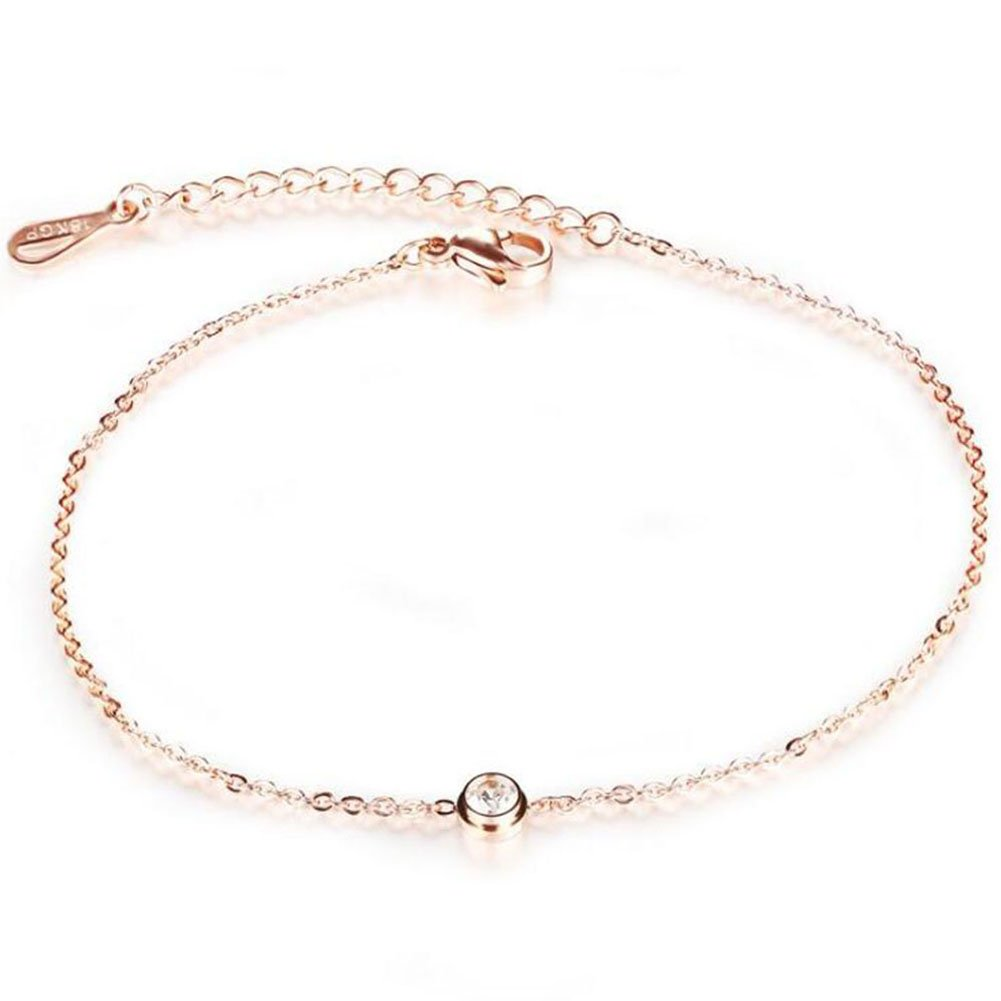 Daisy Jewelry Anklet for Women Adjustable Rose Gold Beach Foot Bracelet