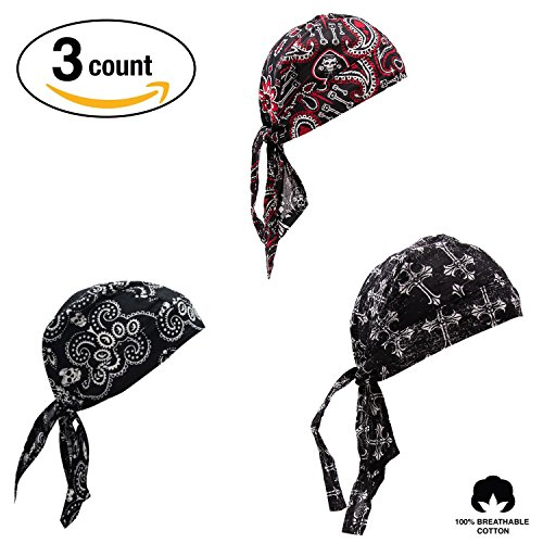 Elephant Brand Doo RAG 100% Cotton - Skull Cap Beanie For Cycling - Head Wrap Pack Of 3 (Biker)