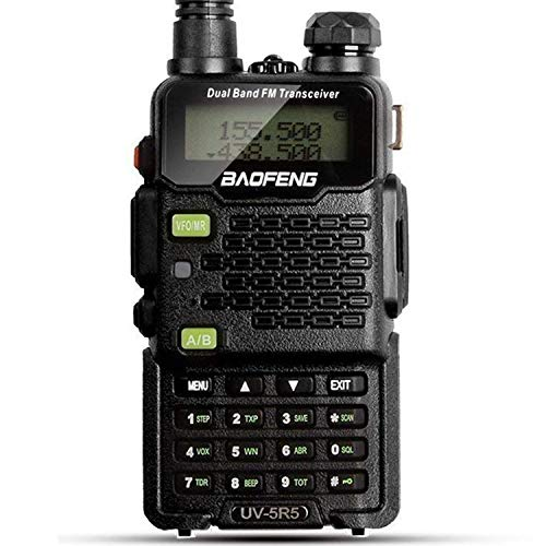 (Two Way Radio, Baofeng Walkie Talkie UV-5R5 5W Dual-Band Two-Way Ham Radio Transceiver UHF/VHF 136-174/400-520MHz,65-108MHz FM with Upgraded Earpiece, Built-in VOX Function,Battery,Charger)