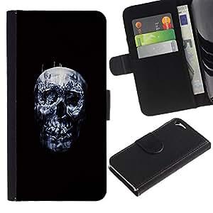 Protector de cuero de la PU de la cubierta del estilo de la carpeta del tirón BY RAYDREAMMM - Apple Iphone 5 / 5S - Cráneo oscuro