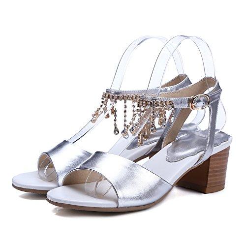 AmoonyFashion Womens Oxhide Solid Buckle Open-Toe Kitten-Heels Sandals Silver t2X9d8eCRA