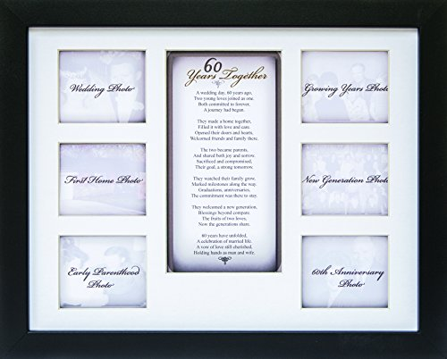 "60th Anniversary Collage Picture Frame - 11""x14"" Photo Wall Frame with 6 (3"" x 2.75"") Openings and a Beautiful Poem Displayed in Center - ""60 Years Together"""