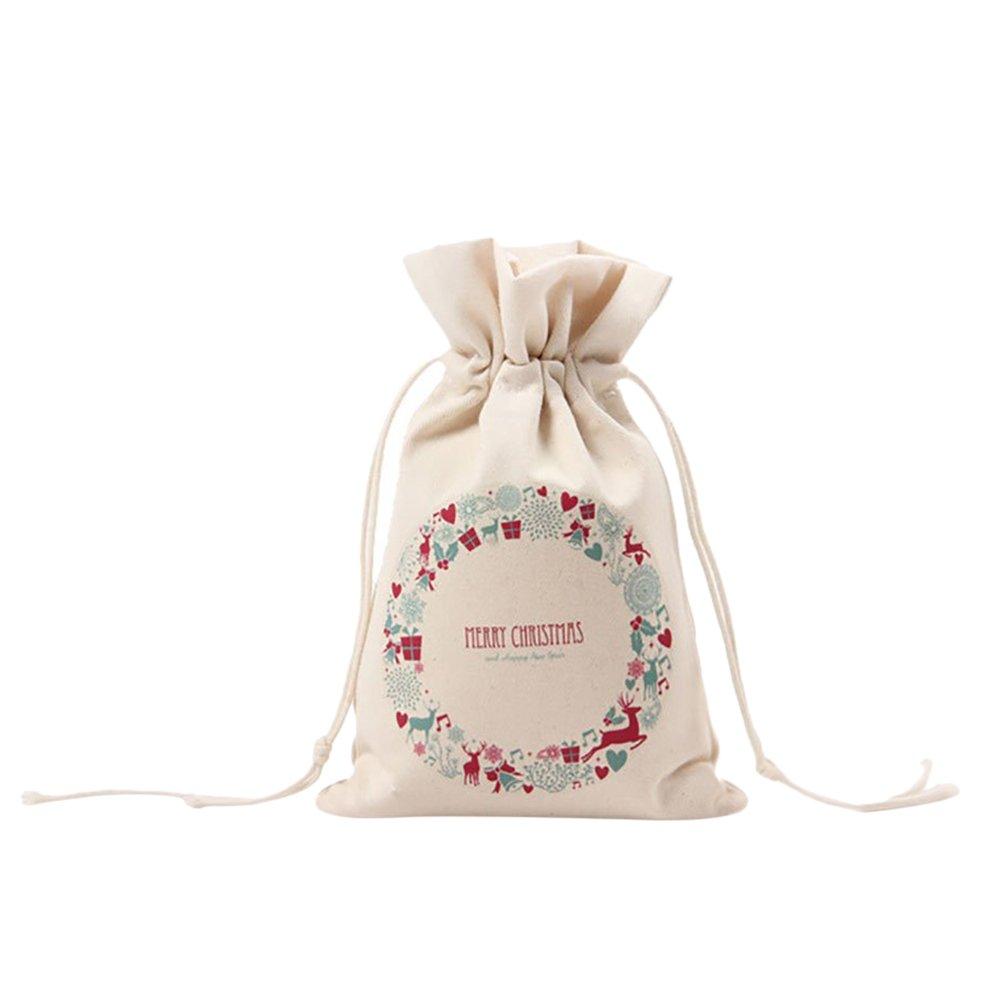 Gespout Natural Yute Bolsa de Tela Lona Bolsitas de Navidad Candy Regalo Bolsas Almacenamiento y organización Mujeres Bolso del Ropa Bra Toallas Paquete de Viaje Portátil 1pcs Patrón de Navidad
