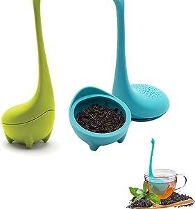 Tea Infusers, Tea Filters Food Grade Silicone Loose Leaf Herbal Tea Flower Tea, Dinosaur Tea diffuser with Long Handle Neck Silicone Tea Strainer Tea Steeper, 2pcs