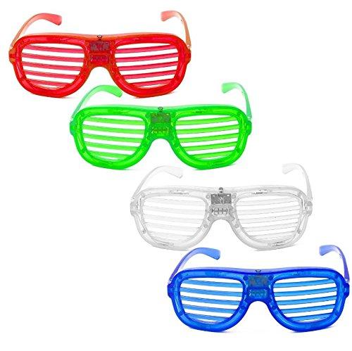 IREALIST White Frame USB Rechargeable LED Light up Sunglasses Sound Activated Shutter Shades Glasses Volume Sensitivity Adjustable Eyewear, 1 Pairs