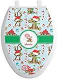 RNK Shops Christmas Monkeys Toilet Seat Decal - Elongated (Personalized)