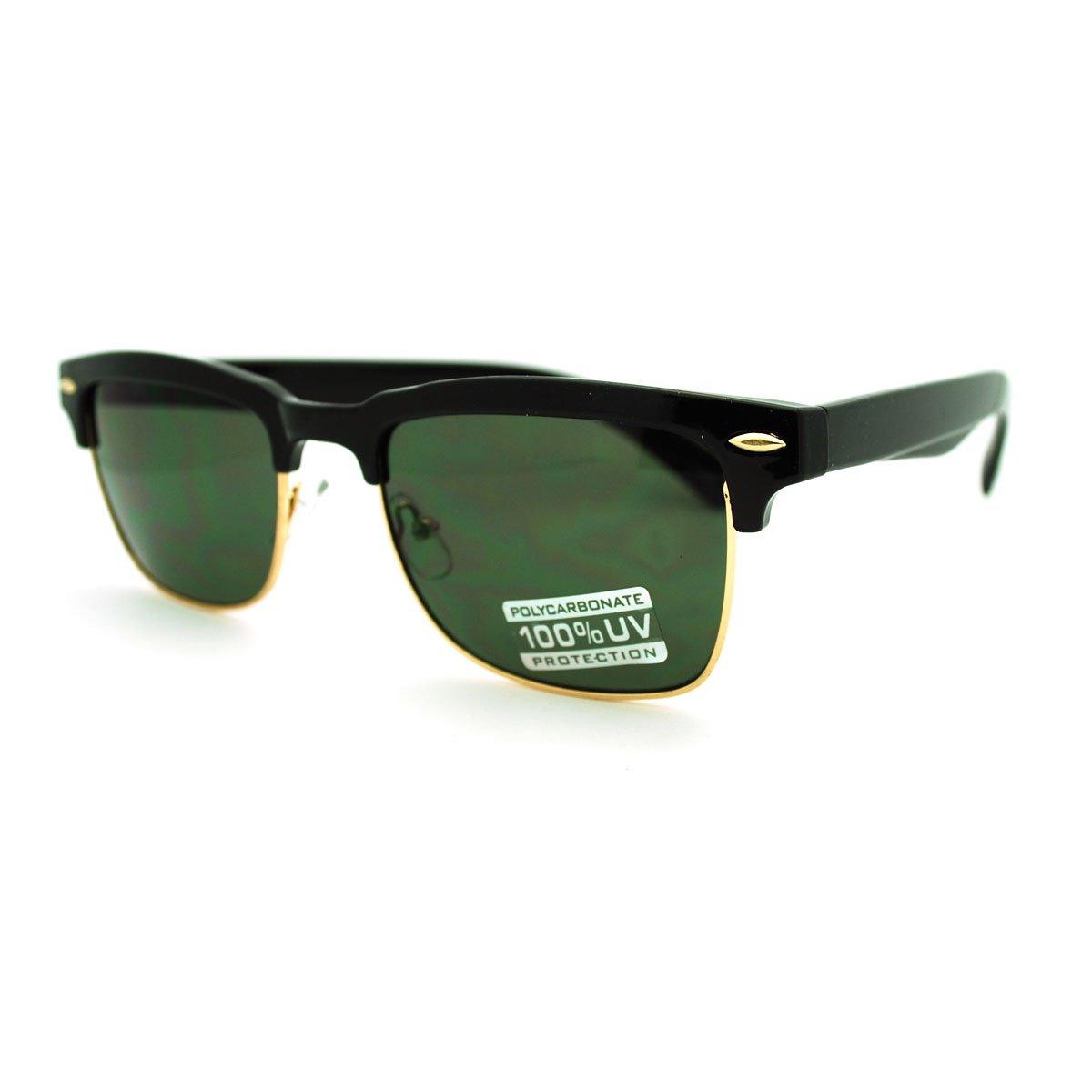 Classic Square Sunglasses Rectangular Half Horn Rim Shades