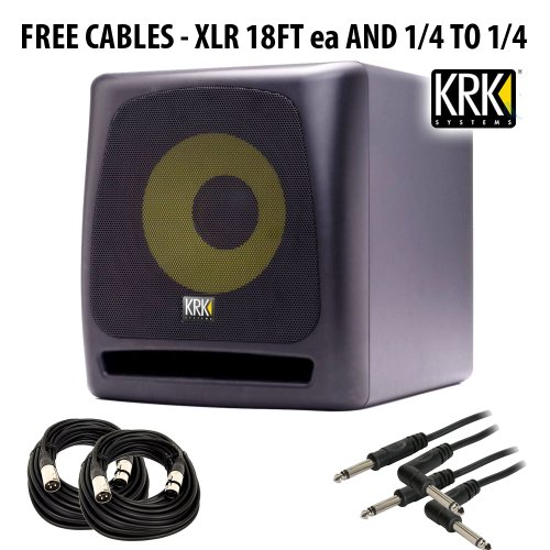 KRK K10S Powered Subwoofer - 10 Inch, 225 Watts + FREE (4) CABLES - 18' Pro Woofer