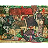 The high quality polyster Canvas of oil painting 'Egon Schiele,Yellow City,1914' ,size: 24x31 inch / 61x79 cm ,this High Definition Art Decorative Prints on Canvas is fit for Garage decoration and Home gallery art and Gifts