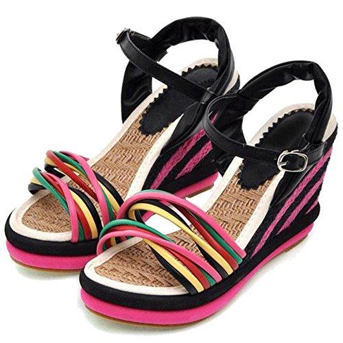 Fereshte Arcobaleno Colorato Cinghie Zeppe Gladiatore Piattaforma Intrecciata Sandali Bohémien Per Le Donne Adolescenti Ragazze Nere