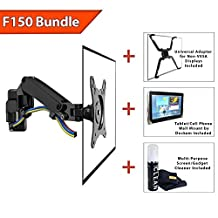 """Boost F150 Gas-Strut Articulating Single Arm Flexi Wall Mount for 17"""" to 27"""" LCD LED Plasma TV Displays - Black (Bonus FP-1 Non-Vesa Adapter, Foam Cleaner & Tablet/Phone Wall Mount Included)"""