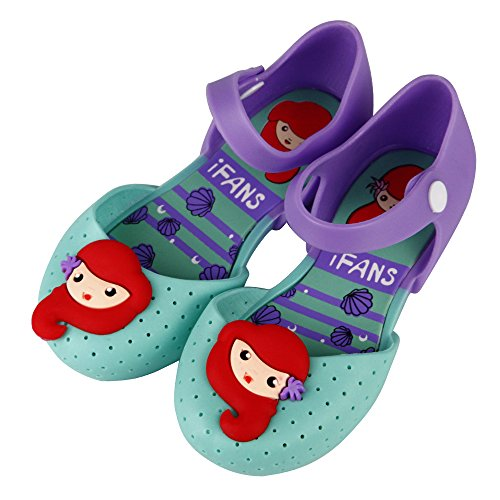 iFANS Girls Mermaid Princess Jelly Shoes Mary Jane Flats for Toddler Little Kids