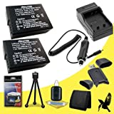 Two Halcyon 1600 mAH Lithium Ion Replacement BP-DC 12 Battery and Charger Kit + Memory Card Wallet + SDHC Card USB Reader + Deluxe Starter Kit for Leica V-LUX 4 Digital Camera and LEICA BP-DC 12