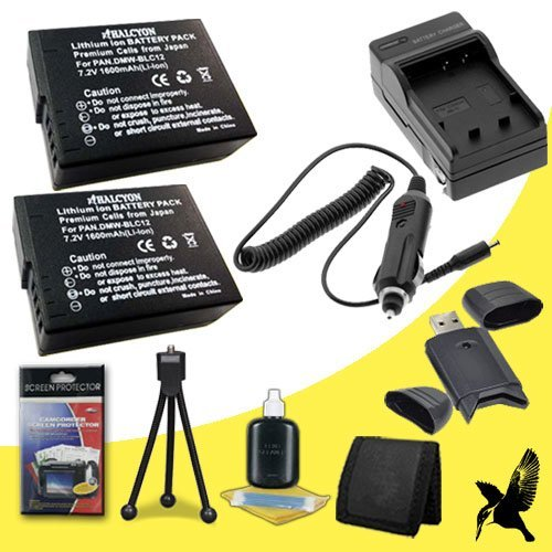 Two Halcyon 1600 mAH Lithium Ion Replacement BP-DC 12 Battery and Charger Kit + Memory Card Wallet + SDHC Card USB Reader + Deluxe Starter Kit for Leica V-LUX 4 Digital Camera and LEICA BP-DC 12 by Halcyon