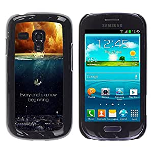 CASEMAX Slim Hard Case Cover Armor Shell FOR Samsung Galaxy S3 MINI 8190- EVERY END IS A NEW BEGINNING