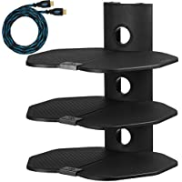 Cheetah AS3B 3 Shelf TV Component Wall Mount Shelving Bracket with 18x16-inch Shelf, 15-Feet Twisted Veins HDMI Cable for Satellite Box, DVD Player, Game Station and Receiver