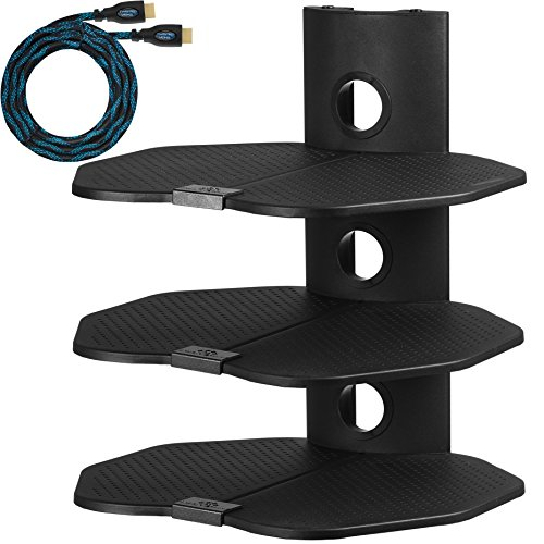 Cheetah AS3B 3 Shelf TV Component Wall Mount Shelving Bracke