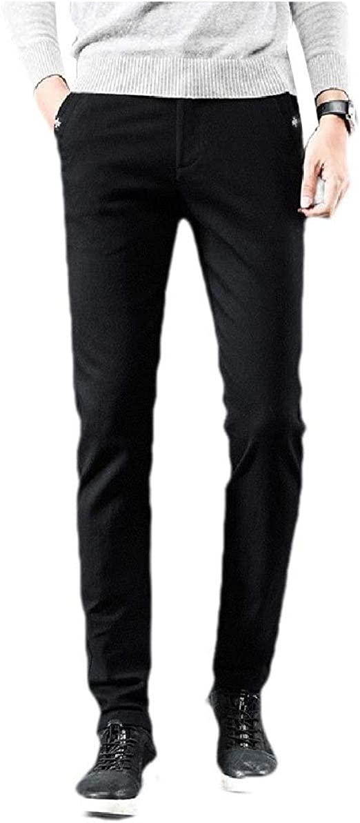 YAXINHE Mens Mid-Rise Solid Stretchy Pocket Regular Fit Oversize Work Trouser Pants