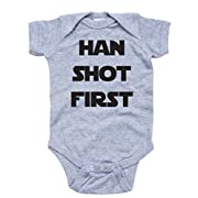 Apericots Funny Han Shot First Cute Soft Cotton Short Sleeve Infant Bodysuit (18 Months, Heather Gray)