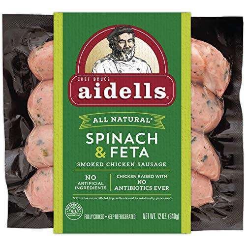 Aidells Smoked Chicken Sausage, Spinach and Feta, 12 oz (4 Fully Cooked Links) ()