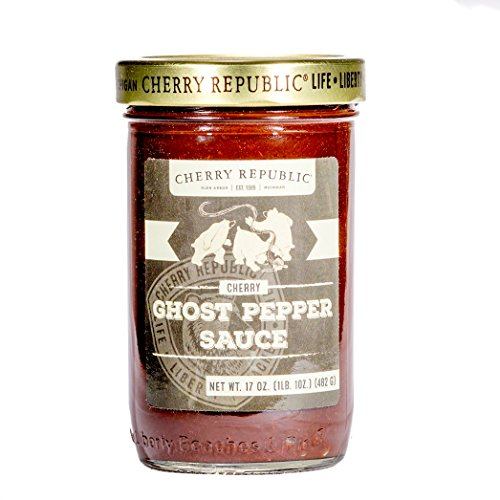 Cherry Honey Spread - Cherry Republic Ghost Pepper BBQ Sauce - Extra Spicy Barbecue Sauce - Authentic Cherry Flavored BBQ Ghost Pepper Sauce - Barbecue Spread for Chicken, Ribs, Smoked Meats, Burgers & More - 17 Ounces